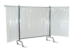 Universal 4000 3-секционный мобильный экран с промышленными прозрачными шторами 1400х1600x0,4мм на роликах